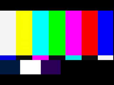 TV colour bars test card screen with sine tone in 4K
