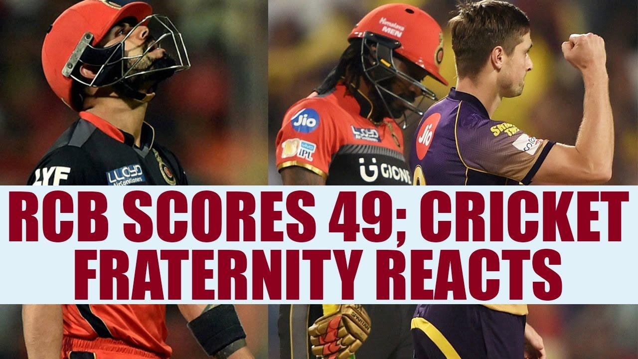 IPL 10 : RCB vs KKR - RCB scores 49 ; Cricket fraternity ...