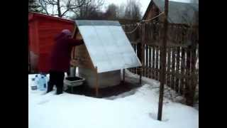 Бюджетный водопровод на даче, зимой 12 марта 2015г. Вода круглый год.