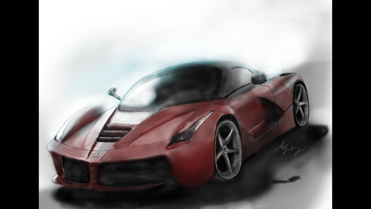 How To Draw The Supercar Ferrari Laferrari Digitally Youtube
