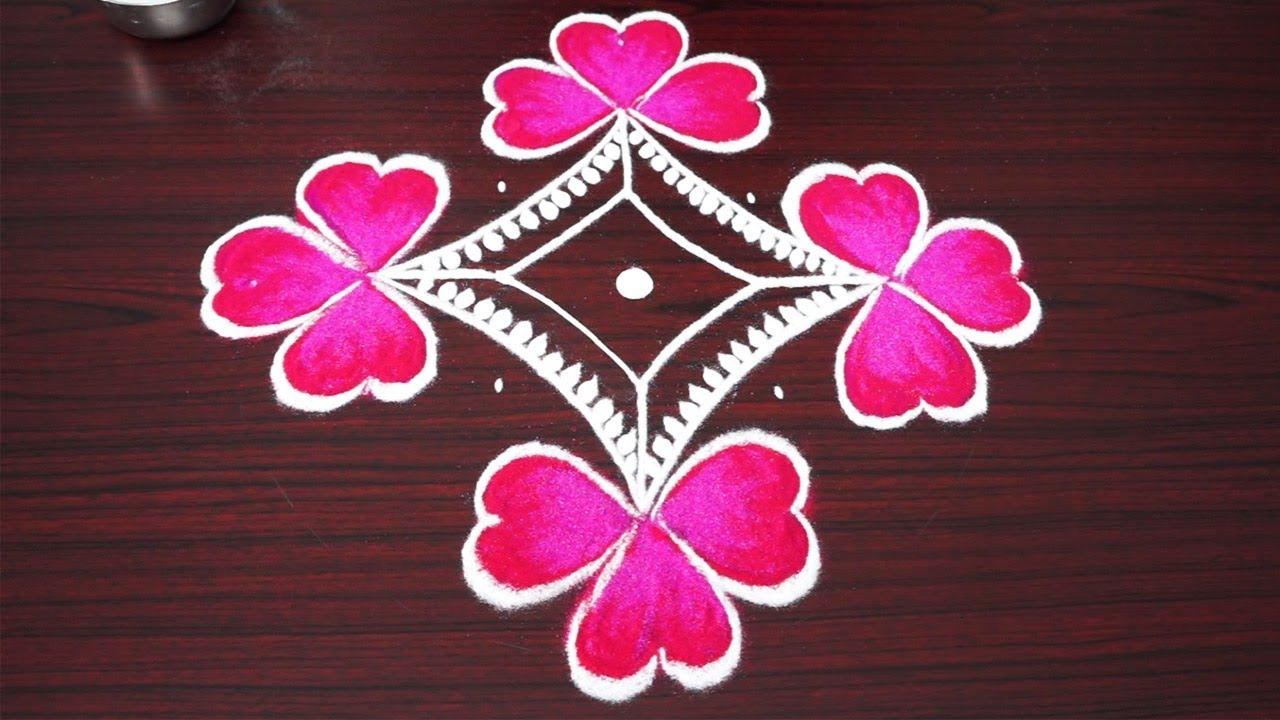 simple and small flower rangoli designs *diwali kolam art designs 2018* muggulu for kids