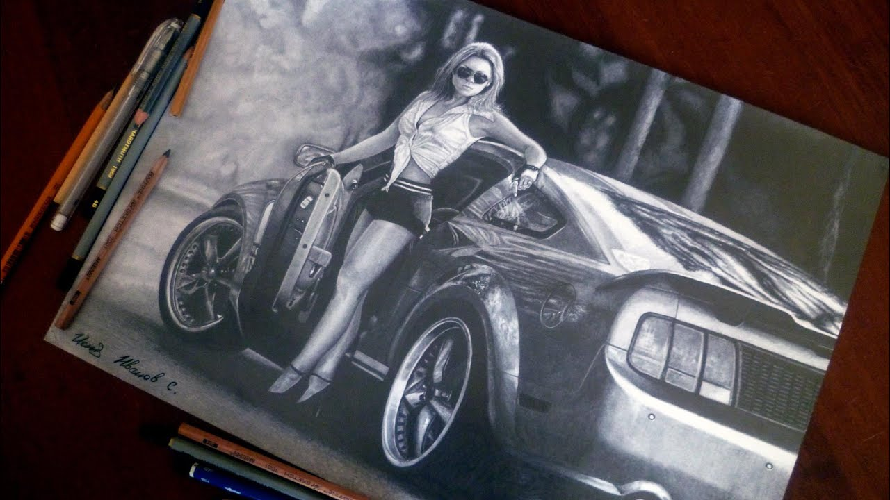 Ford Mustang Gt And Girl Drawing Isp 2015 Youtube