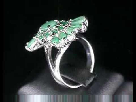 Кольцо серебряное с изумрудами