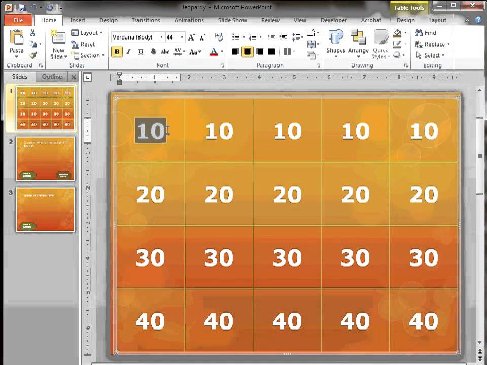 creating jeopardy and hidden object games with ms powerpoint 2010, Powerpoint templates