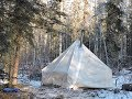 Winter Camping 3 Days with a Canvas Tent and a Woodstove