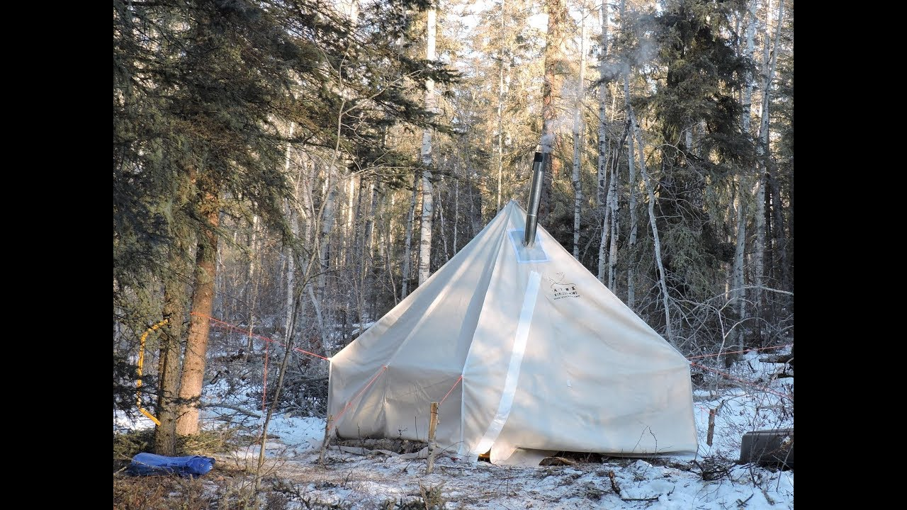 Winter C&ing 3 days with a Canvas Tent and a Woodstove & Winter Camping 3 days with a Canvas Tent and a Woodstove - YouTube