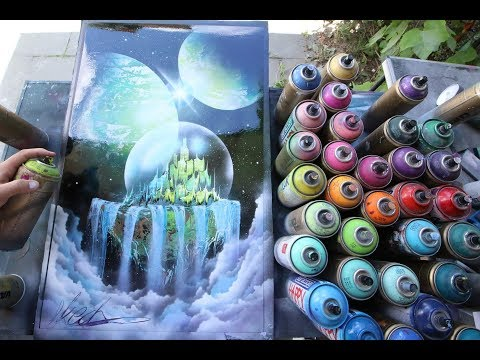 Emerald city in crystal ball - SPRAY PAINT ART by Skech - Ржачные видео приколы