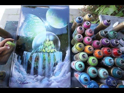 Emerald city in crystal ball - SPRAY PAINT ART by Skech - Популярные видеоролики!