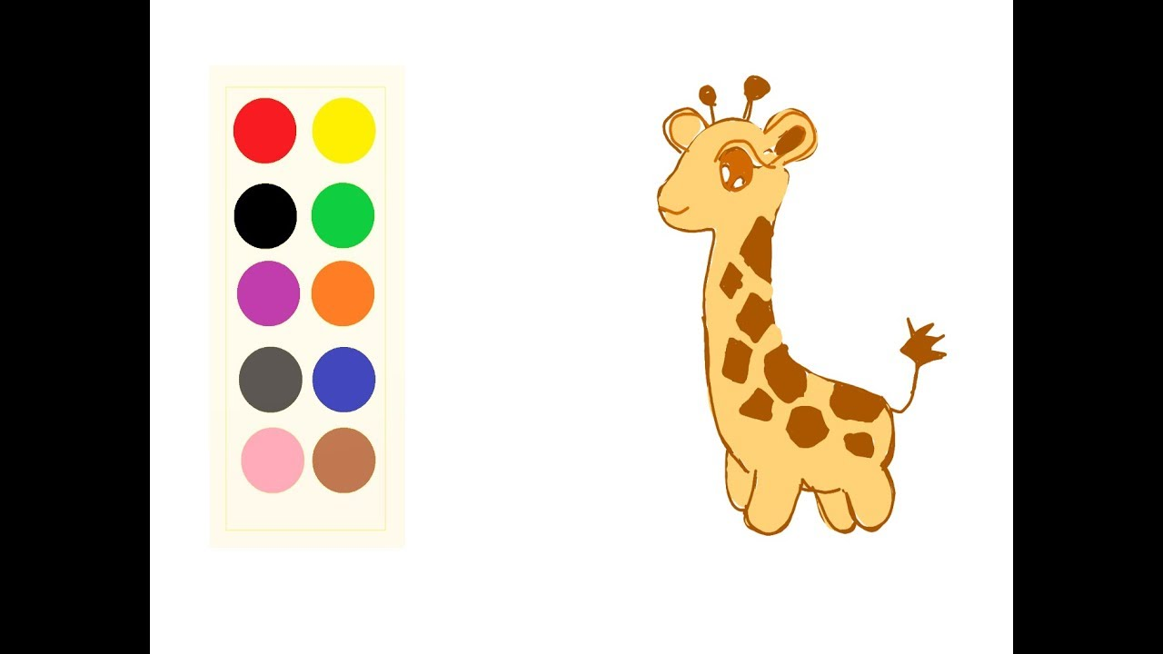 LEARN TO DRAW AND COLOUR A GIRAFE kids learning