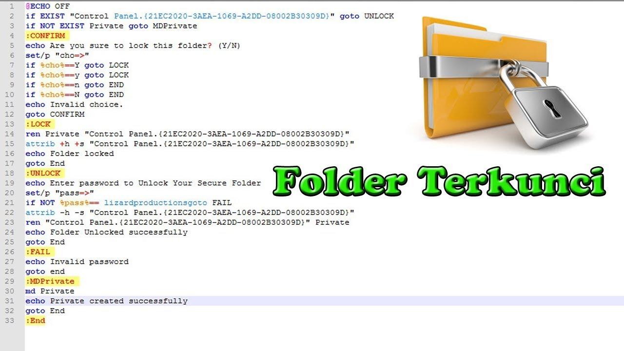 Cara Membuat Folder Terkunci Dengan Notepad - YouTube