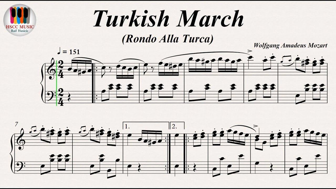 Alla Turca Mozart turkish march (rondo alla turca) piano sonata no. 11 k. 331 movement 3 -  wolfgang amadeus mozart