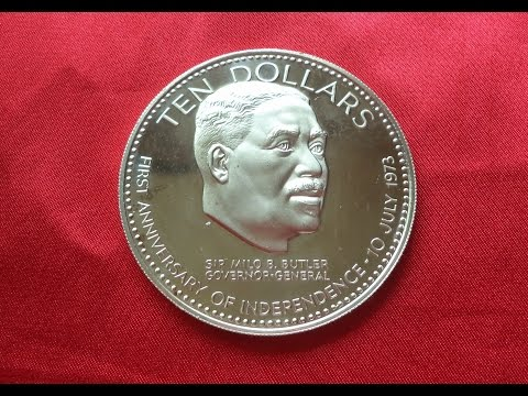 BAHAMAS TEN SILVER DOLLARS 1974 - 1st Anniversary Of Independence