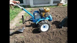 Мотоблок МБ-2 Нева пашет, посев картошки под плуг