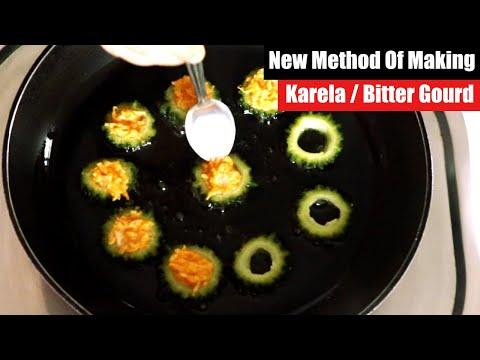 New Method of making Karela, Stuffed Bitter Gourd Rings Recipe, Bharwa Karela Recipe, Karela Fry