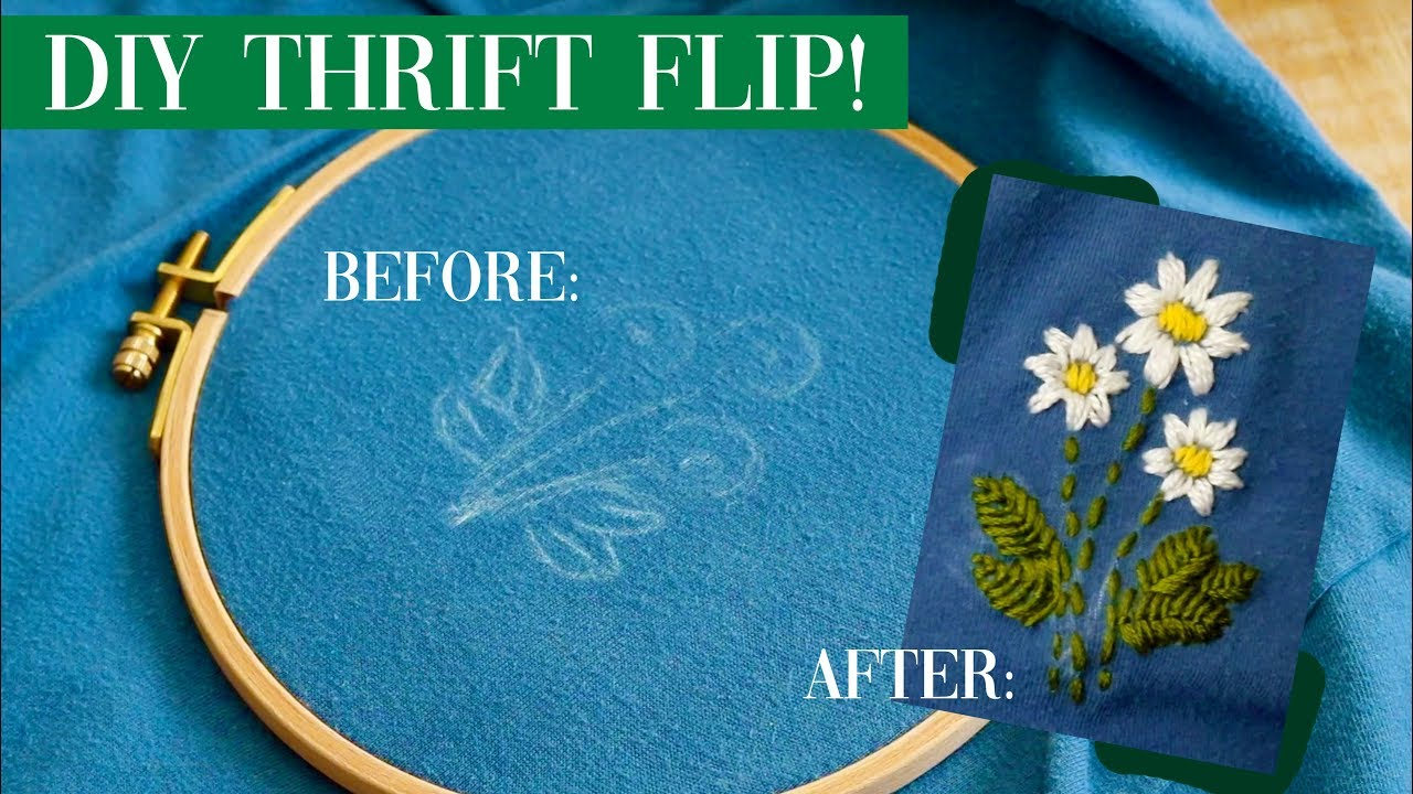 [VIDEO] - DIY Thrift Flip! (upcycling old clothes + embroidery!) 9