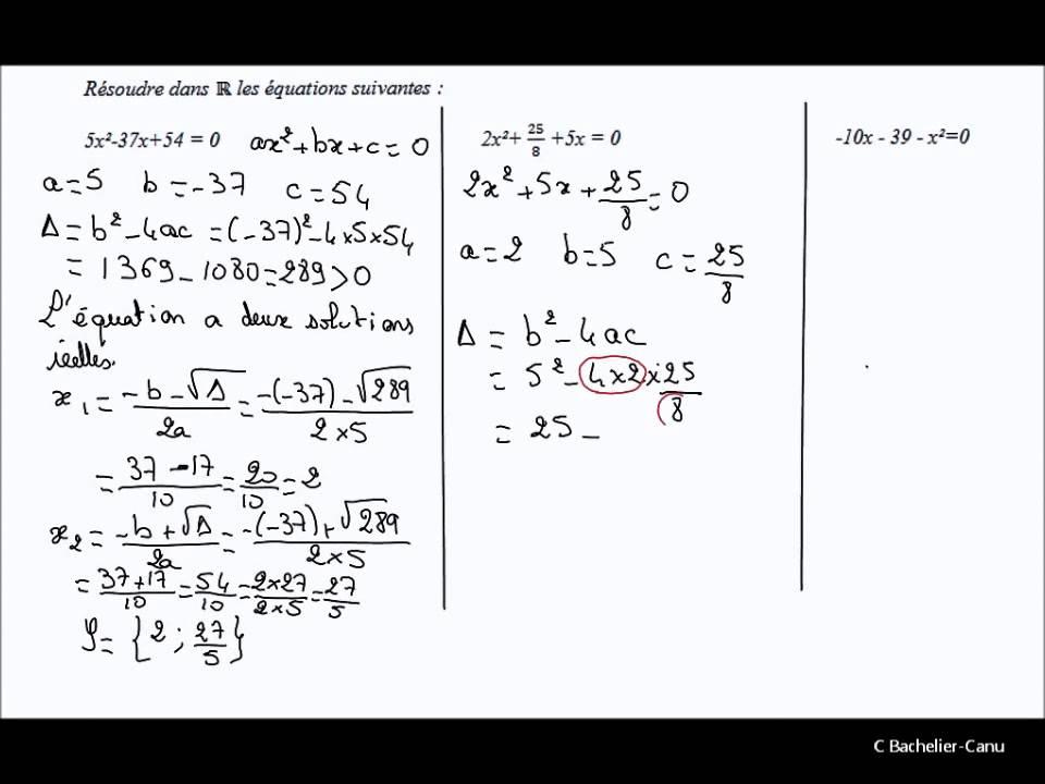 Résolution d'équations du second degré - YouTube