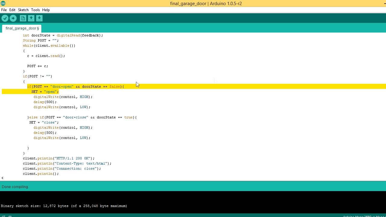 Arduino web garage door opener Part 2 - The Code