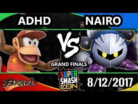 Smash Con 2017 Brawl - ADHD (Diddy Kong) Vs. NRG | Nairo (Metaknight) SSBB GF