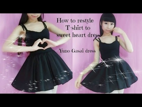 diy-how-to-transform-t--shirt-to-sweet-heart-dress(easy)--anime-yuno-gasai-inspired-costume