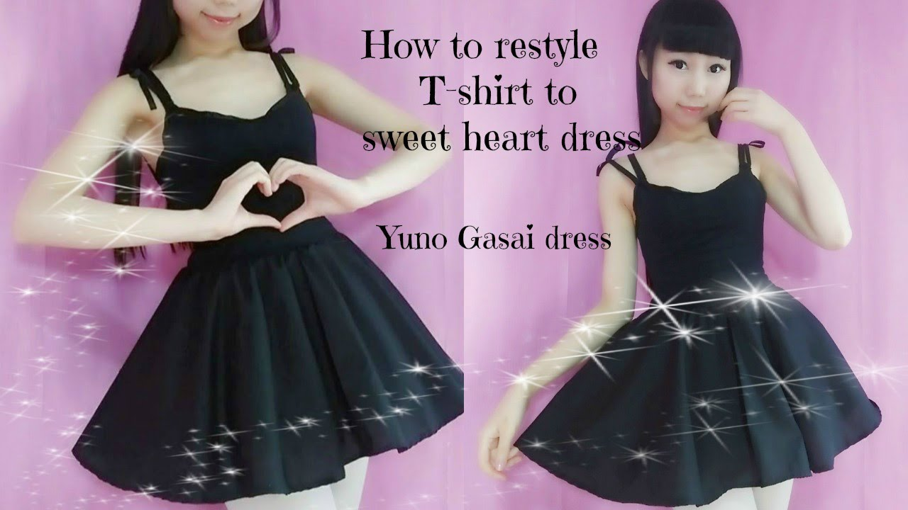 Diy How To Transform T Shirt To Sweet Heart Dress Easy Anime Yuno