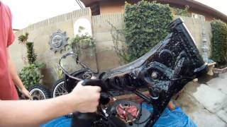 79 Yz 400 (part 4)  Pressure Washing The Frame, Swing Arm, And Engine.