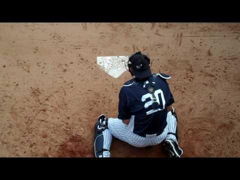 Jorge Posada catching dirt balls - New York Yankees Spring Training 2010