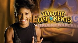 Angela Hill and Nerdist's Dan Casey Play HEARTHSTONE! (Worthy Opponents)