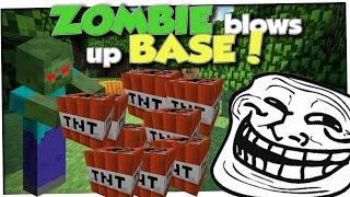 ZOMBIE BLOWS UP XRAY HACKER BASE (MInecraft Trolling)