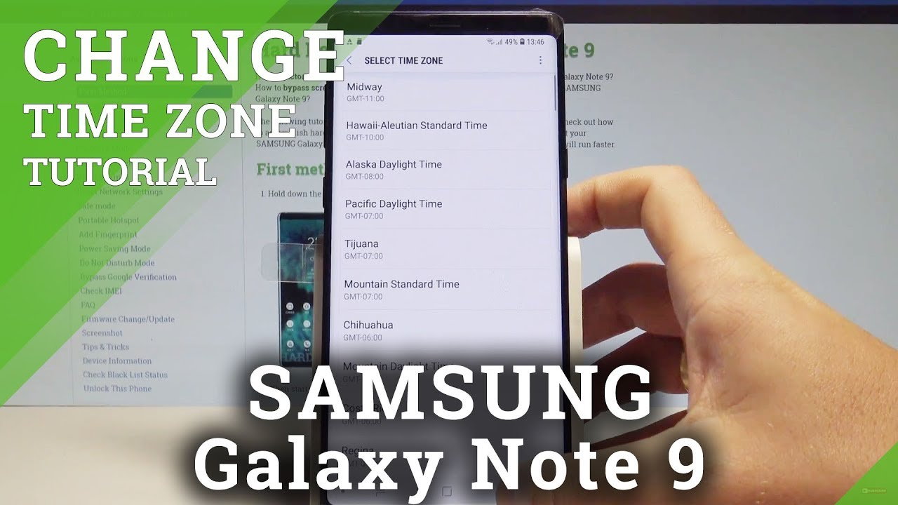 How to Change Date & Time in SAMSUNG Galaxy Note 9 - Select Time Zone  |HardReset Info