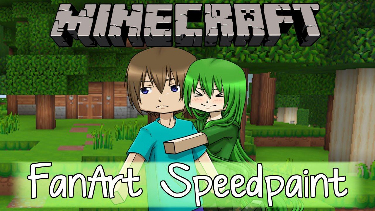 Minecraft speedpaint steve x creeper youtube - Minecraft creeper and steve ...