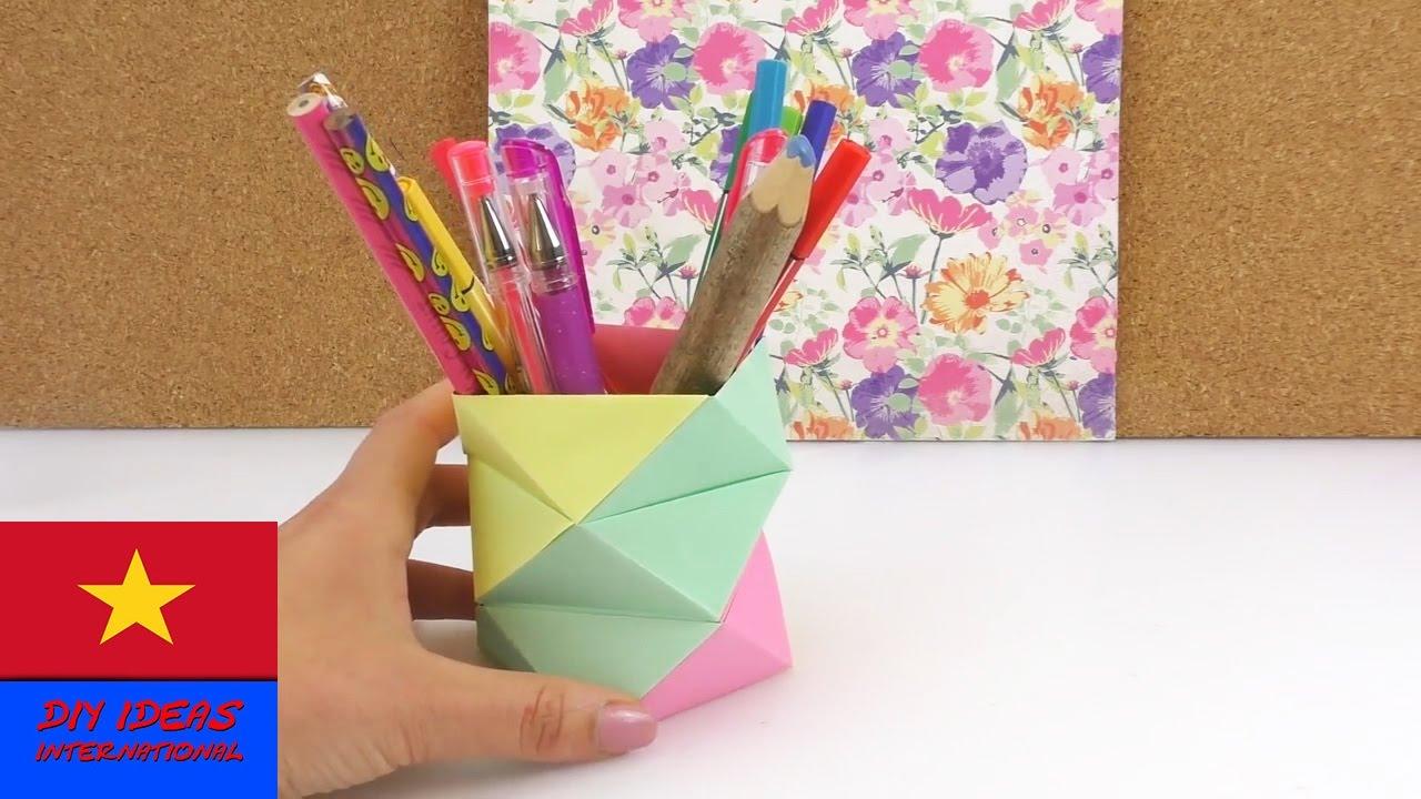 Gấp giấy origami, làm lọ đựng bút độc đáo nhiều màu sắc