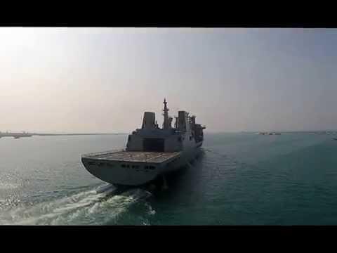海軍磐石軍艦 交艦出港 - YouTube