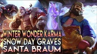 Snow Day Graves, Santa Braum, Winter Wonder Karma Skins Spotlight - League of Legends