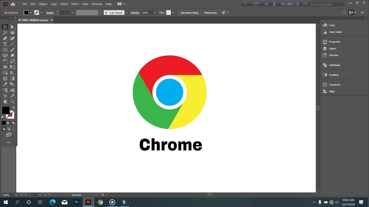 How To Design Chrome Logo In Illustrators   Professional Logo Design   Graphic Hunters