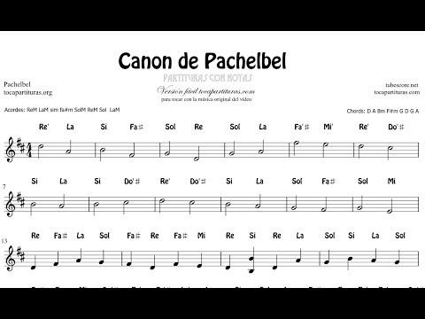 Canon de Pachelbel en Re Mayor con Notas Partitura Flautas, Violin Oboe Instrumentos en do Versión