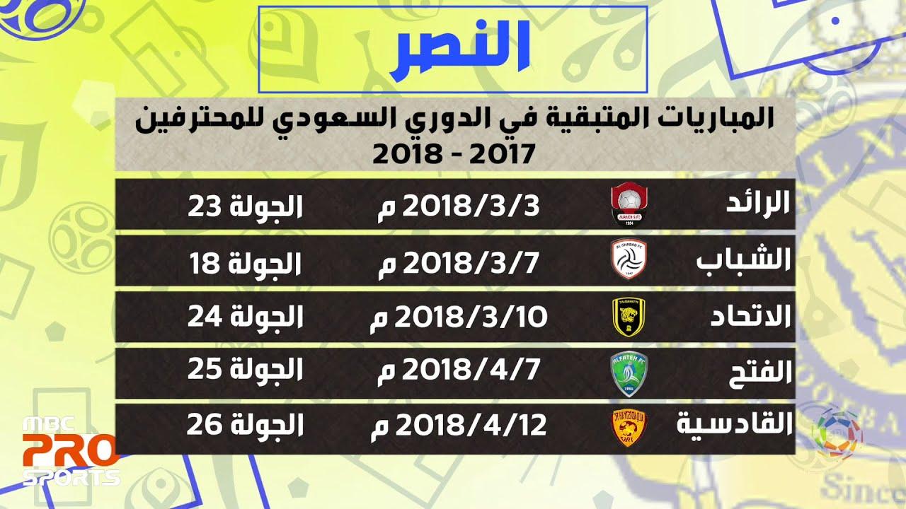 المباريات المتبقية لفريق النصر في الدوري السعودي للمحترفين Youtube