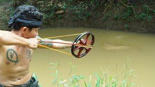 How To Make Amazing Mini Wheel Slingshot   Mini Wheel Slingshot VS Huge Fish