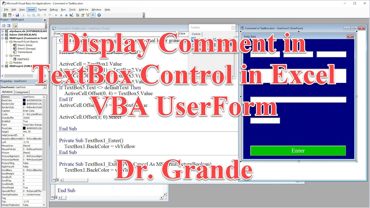 Display Comment In Textbox Control On Excel Vba Userform