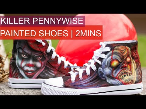 Killer Pennywise custom painted shoes | Airbrush Halloween Costume