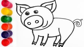 Learn Colors for Kids with Watercolor Paint | How to Draw Pig | Coloring and Drawing for Kids