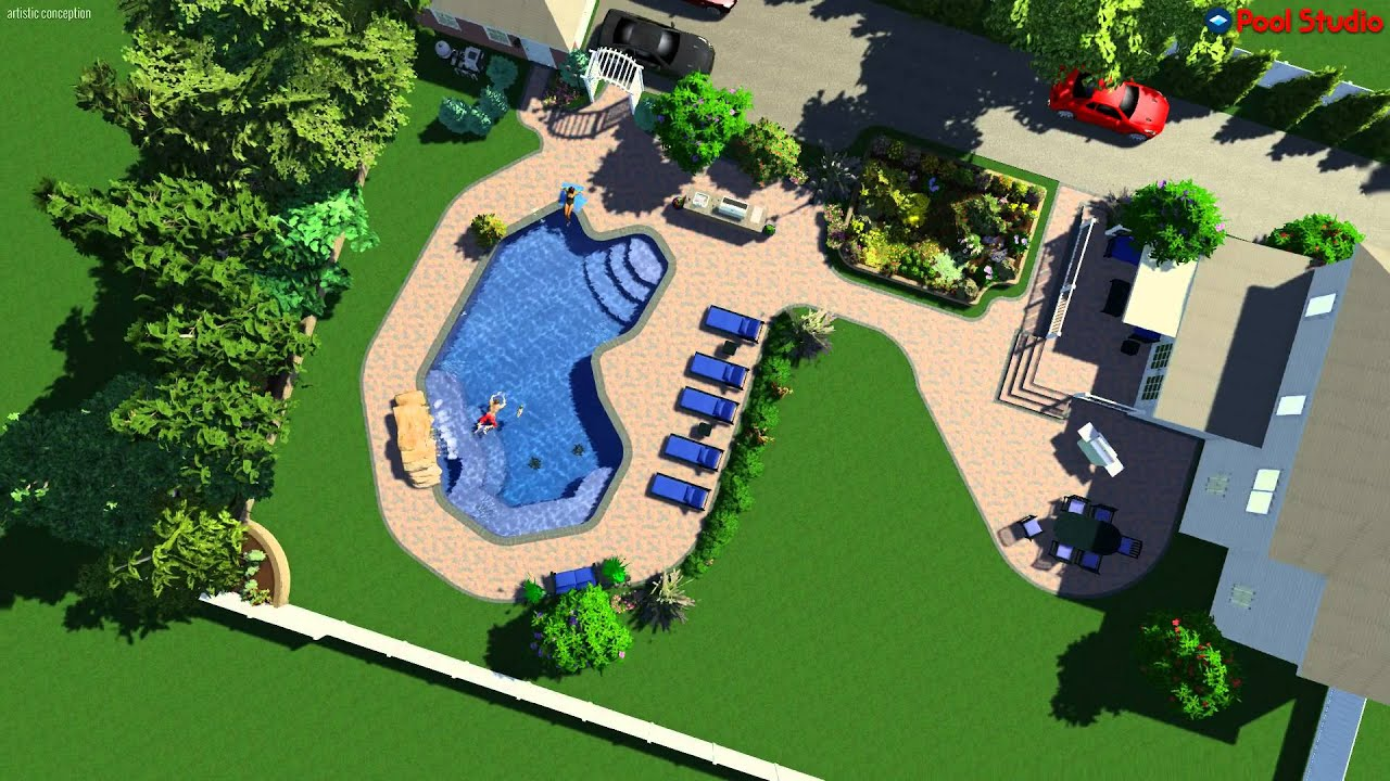 Pool studio 3d swimming pool design software youtube for Pool equipment design layout