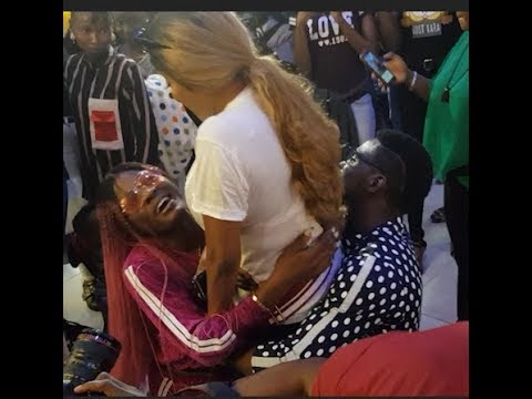See How Bbnaija Tobi & Alex Kneel down to beg Toyin Aimakhu at her The Ghost & the Tout Movie Launch