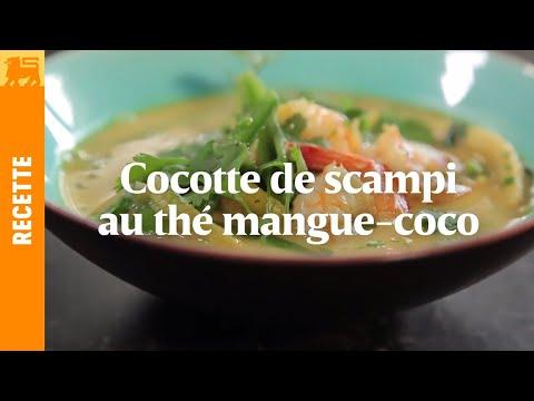 Cocotte de scampi au thé mangue-coco