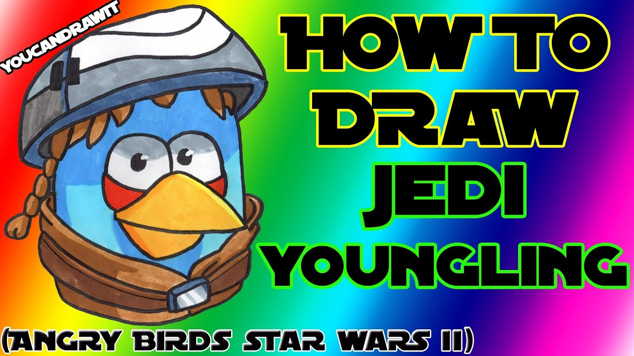 How To Draw Jedi Youngling Bird From Angry Birds Star Wars