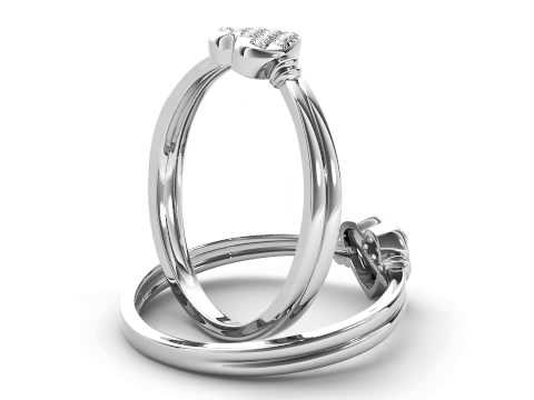 0.05 Carat T.D.W Diamond Cluster Heart Promise Ring in 10k White Gold