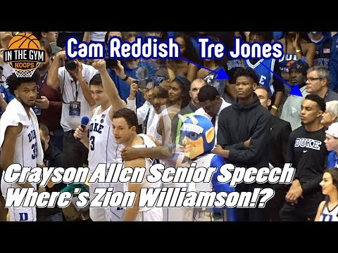 Duke's 2018 Recruiting Class WITHOUT ZION WILLIAMSON Listens to Grayson Allen's Senior Speech