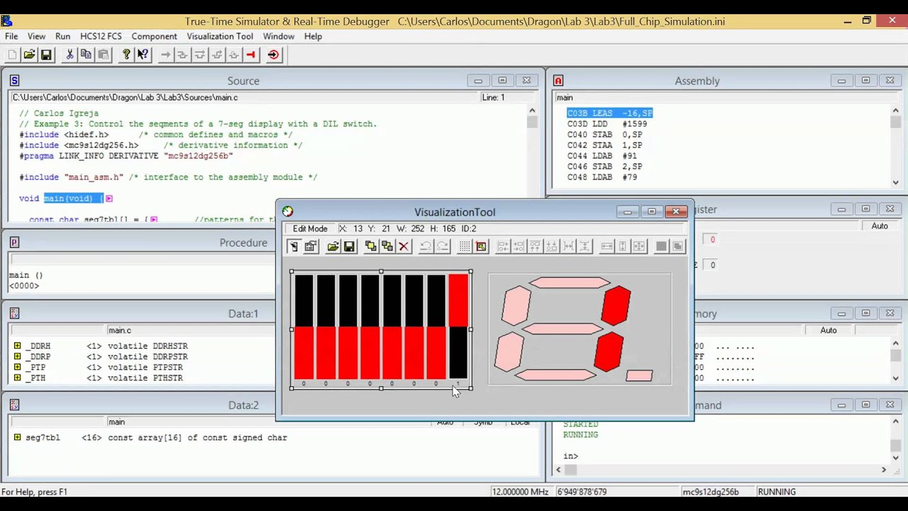 C Assembly Dil 7 Segment Display Binary Hexadecimalcodewarrior Segments Of Seven Lbe Dragon 12 Plus 2014
