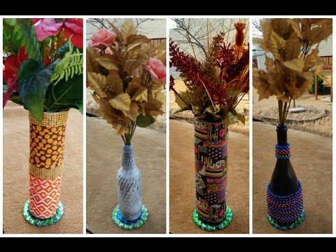 Diy Flower Vase Made Out Of Beer Bottles And Bottle Covers