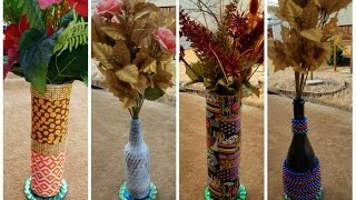 DIY Flower Vase made out of beer bottles and bottle covers (4 ways)