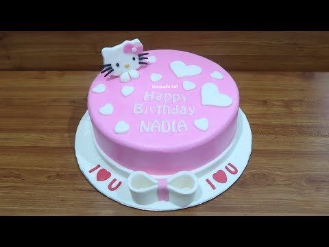 Without Nozzle! How to Make Birthday Cake Hello Kitty Simple
